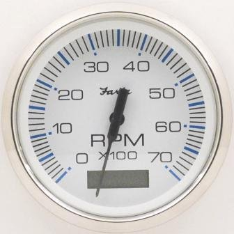 Faria Chesapeake White SS 4'' Tachometer w/Hourmeter - 7,000 RPM (Gas - Outboard) (54643) by Faria Beede Instruments