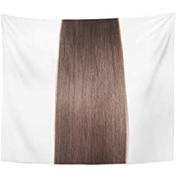 VaryHome Tapestry Chocolate Straight Dark Brown Human Hair Extensions Silky Beautiful Home Decor Wall Hanging for Living Room Bedroom Dorm 50x60 Inches