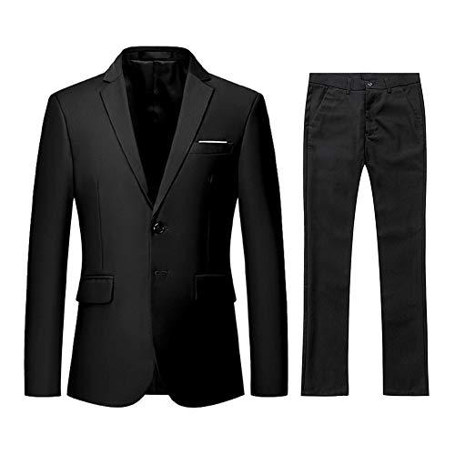 YFFUSHI Men's 2 Piece Suit Slim Fit Solid Two-Button Notched Lapel Casual Elegant Tuxedo Black