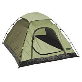 Stansport Hunter Series Hunter Buddy 2 Pole Dome Tent (Forest Green/Tan, 5-Feet 6-Inch X 6-Feet 6-Inch X 44-Inch) 1 Dome tent sets up quickly thanks to simple, two-pole design with quick-clip system and ring-and-pin locks at corners Three-season tent is ideal for backpacking and backyard campouts Mesh roof offers optimal ventilation and clear view of the night sky; quarter fly keeps you dry when weather turns wet