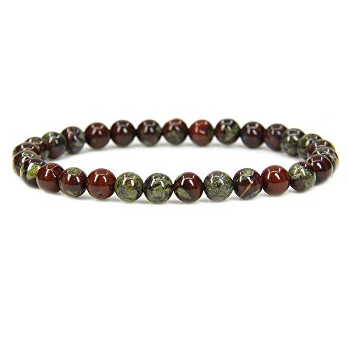(Amandastone Natural A Grade Dragon Blood Jasper Gemstone 6mm Round Beads Stretch Bracelet 7