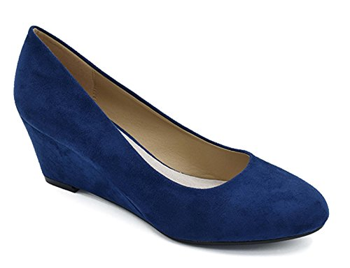 Blue Wedge Shoes - Greatonu Women's Navy Formal Office Wedge Platform Mid Heel Dress Pumps Shoes Size 10