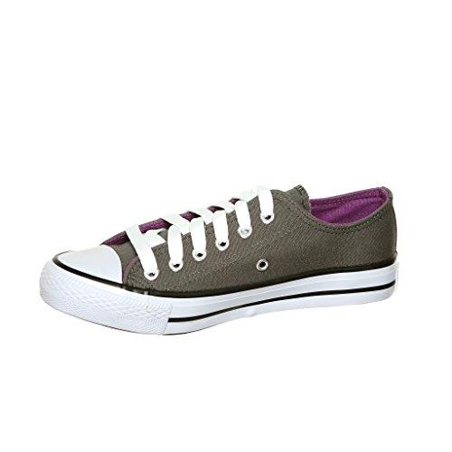 Nieuwe Stijl!! Klassieke Canvas Skate Sneakers Best Seller Grijs / Paars