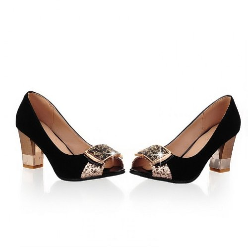 Carol Schoenen Fashion Dames Chunky Heel Peep Toe Pumps Schoenen Zwart