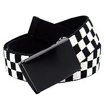 Classic Black Men's Flip Top Belt Buckle with Canvas Web Belt XX-Large Checkered
