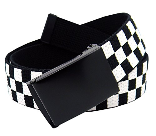(Boy's School Uniform Black Flip Top Military Belt Buckle with Canvas Web Belt X-Large Checkered)