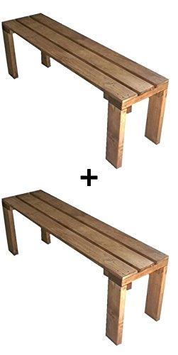 2x Gartenbank Sitzbank Holzbank gartenmobel terrassenmobel parkbank für Innen und Außen geeignet 100x38.5x50 cm. Nach Maß verfügbar! total wood 2012