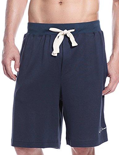 Godsen Men's Casual Soft Cotton Stretch Waistband Lounge Shorts,Color Royal Blue,Size M (Soft Cotton Short)