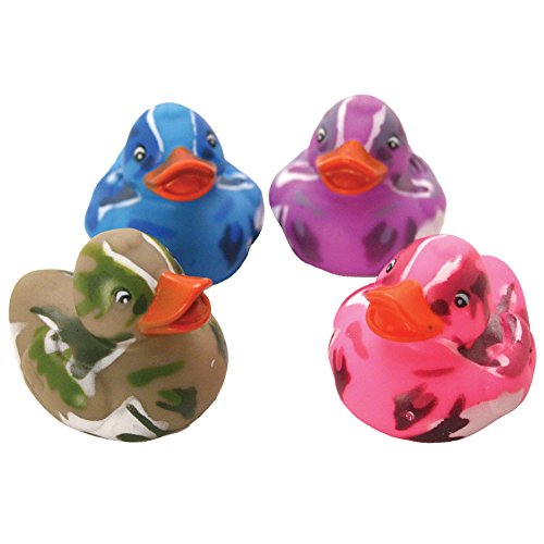 Rhode Island Novelty Lot Of 12 Assorted Color Camouflage Rubber Ducks Duckies