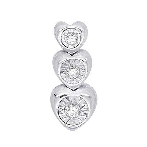 0.12 Ct Round Cut Natural Diamond 925 Sterling Silver Heart 3-Stone Journey Pendant (Journey Diamond Jewelry Bezel)