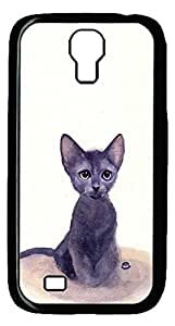 Brian114 Samsung Galaxy S4 Case, S4 Case - Cool Black Back Hard Case for Samsung Galaxy S4 I9500 Ink Painting Kitty Design Hard Snap-On Cover for Samsung Galaxy S4 I9500