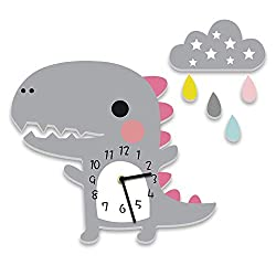 Hiltow Cute Dinosaur Thematic Kids Wall Clock Best for Nursery Room Decor | Imagination Inspiring Hand Painted Details | Non-Toxic, Lead Free Water-Based Paint