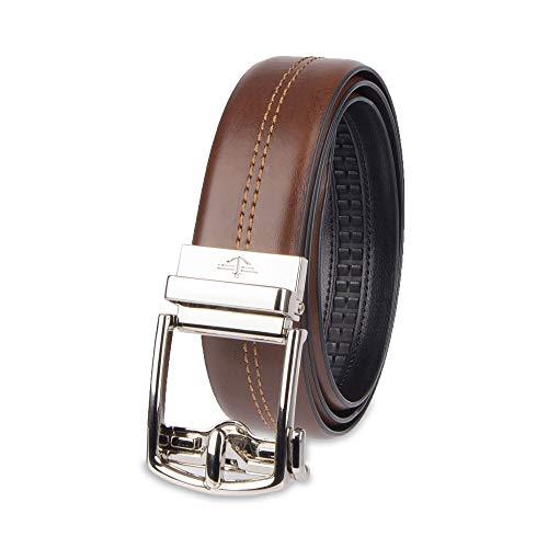 Dockers Men's 1.3 in. Wide Perfect Adjustable Click to Fit Belt, cognac Center, Medium (36-38)
