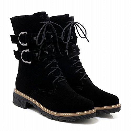 Mee Shoes Damen runde mit Nieten chunky heels Stiefel Schwarz