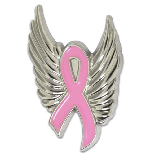 PinMart's Breast Cancer Pink Awareness Ribbon with Silver Angel Wings Enamel Lapel Pin by PinMart