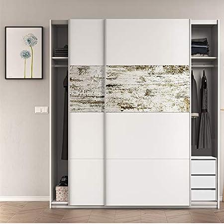 HABITMOBEL Armario Dormitorio con CAJONERA (3 cajones) en Color Blanco Brillo y Decapé, Medidas: 180x200x61 cm de Fondo: Amazon.es: Hogar