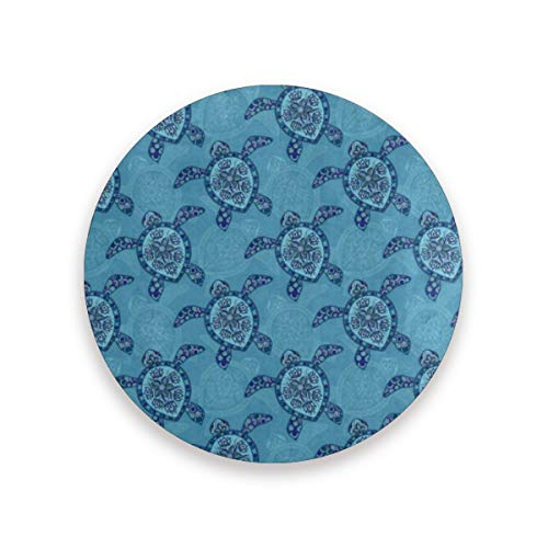 Coasters for Drinks,Indian Floral Sea Turtle Ceramic Round Cork Trivet Heat Resistant Hot Pads Table Cup Mat Coaster-Set of 2 Pieces