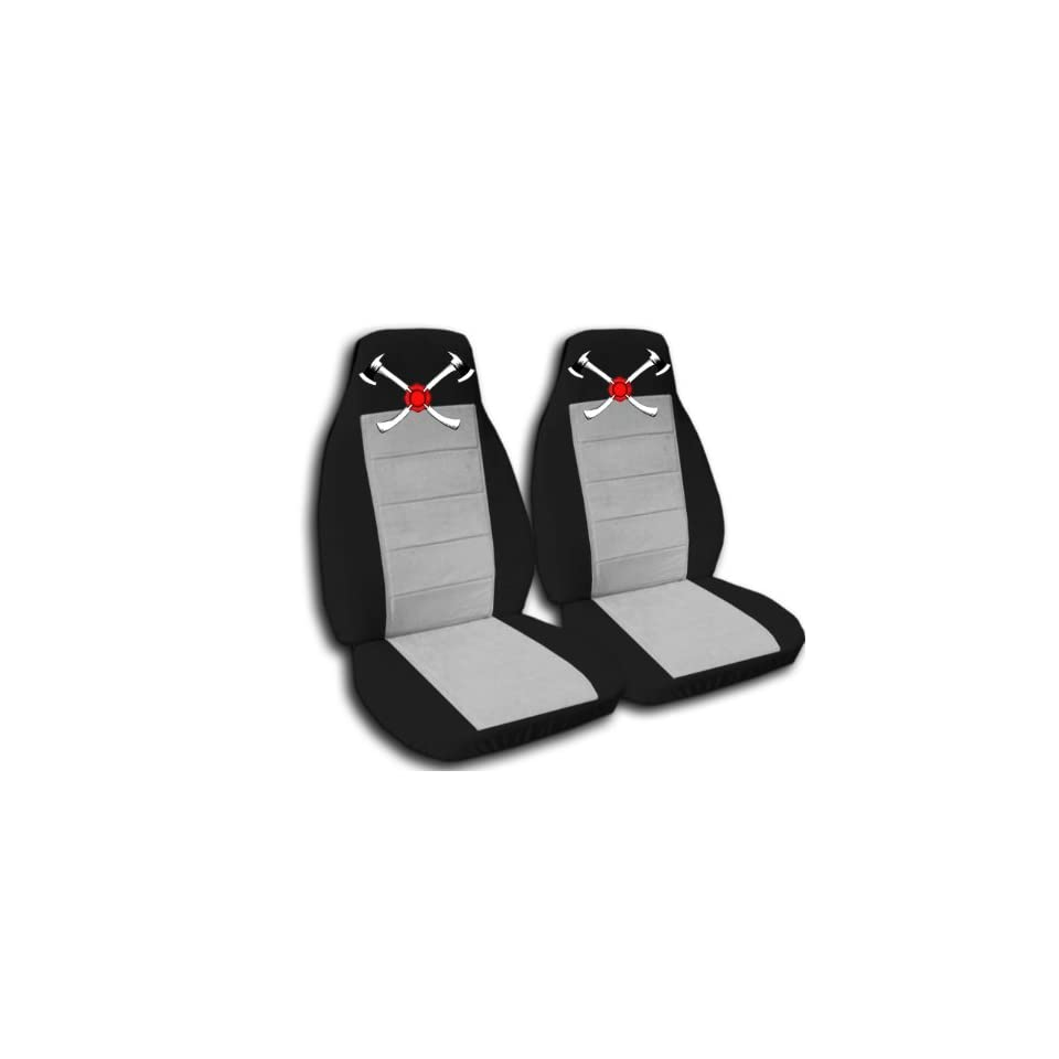 Black and silver AXE seat covers. 40/60 split seat covers for a Ford F 150 Super Crew cab. Center console included