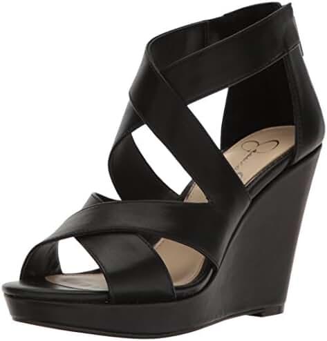 Jessica Simpson Women's Jenay Wedge Sandal, Black, 8 Medium US