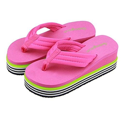 plataforma Rosa de mujer Sandalias al aire Chanclas verano de Culater interior playa gruesa zapatos zapatillas libre de 54awpFxqw