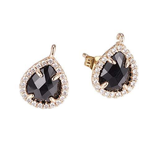 PH PandaHall 10 PCS(5 Pairs) Brass Cubic Zirconia Ear Stud, Flat Drop Rhinestone Setting Earring Back Posts, Golden and ()