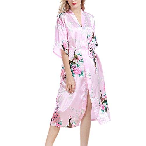 Pigiama seta Nightgowns Robe estivo Cardigan Pantaloni Peacock di notte Indumenti bagno Kimono da sexy Desshok di Colore02 da Donna Hwg6fqWxR
