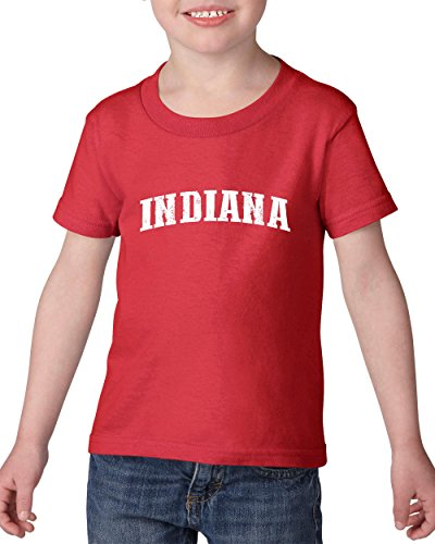 Ugo IN Indiana Flag Indianapolis Map Home of Hoosiers Indiana University Heavy Cotton Toddler Kids T-Shirt Tee - Map University Stores Village