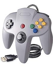 suily N64 Game Controller, Classic N64 Bit USB Controller für Windows PC MAC Linux Raspberry Pi 3, Grau