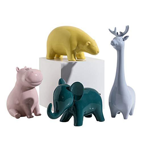 zPour Animal Figurines Decoration D cor Ceramics Ornament Elk Hippo Elephant Polar Bear Yellow