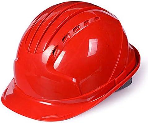 FH 四点クッション安全通気性調節可能ヘルメット、工事現場建設安全保護機器ユニセックスABSヘルメット (Color : Red)