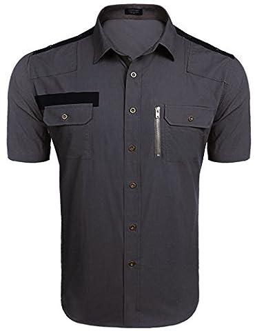 Coofandy Men's Casual Uniform Style Short Sleeve Button Down Shirts - Short Sleeve Zipper
