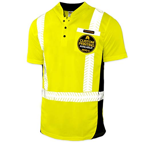 KwikSafety (Charlotte, NC) ESTIMATOR (Y-Neck Button with POCKET) Class 2 ANSI High Visibility Safety Shirt Fishbone Reflective Tape Construction Security HiVis Clothing Men Short Sleeve Yellow Large