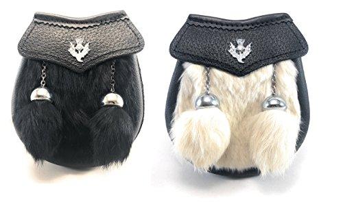 (Genuine Fur Baby Kilt Sporran with Chrome Thistle Badge and Two Tassels (Black Fur))