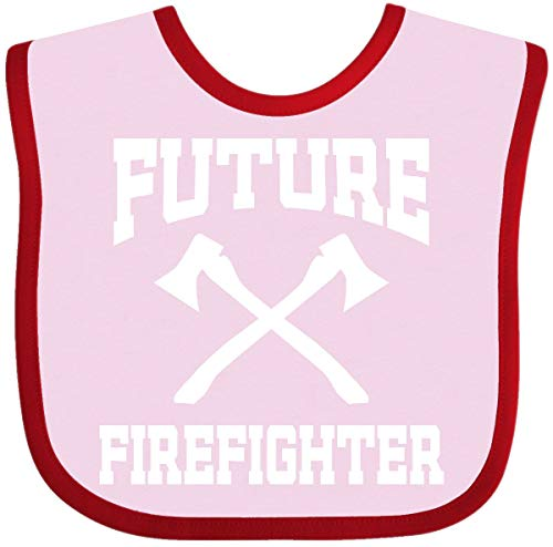 Inktastic - Future Firefighter Baby Bib Pink and Red - Bib Future Baby Firefighter