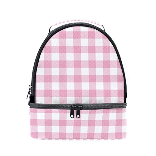 My Daily Kids Lunch Box Pink Gingham Plaid Checkered Reusable Insulated School Lunch Tote Bag ()