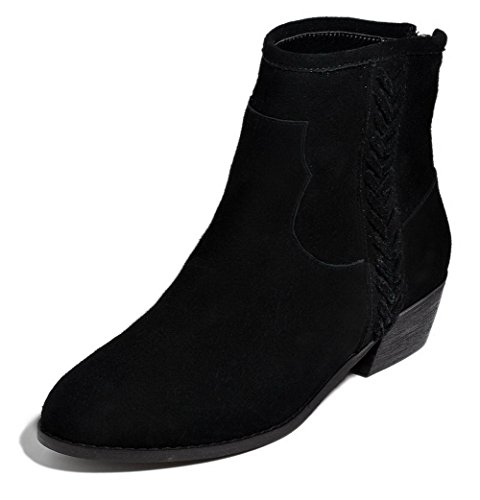 AmoonyFashion Womens Round-Toe Closed-Toe Low-Heels Boots With Chunky Heels and Back Zipper Black