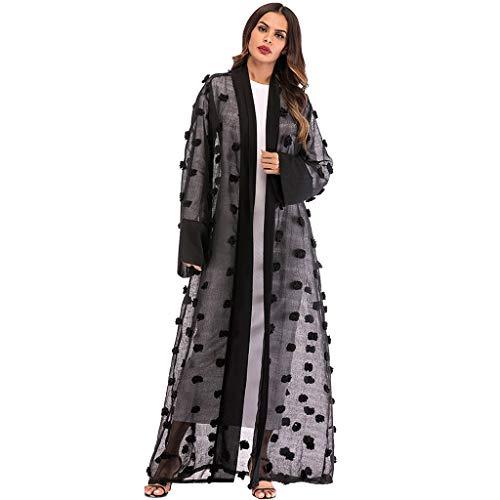 TIFENNY Fashion Transparent Long Cardigan for Women Ethnic Robes Abaya Islamic Muslim Middle East Maxi Dress Kaftan Black ()
