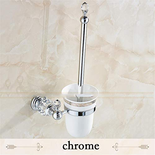 European Brass Crystal Toilet Brush Holder Toilet Brush Bathroom Bathroom Accessories Chrome ()