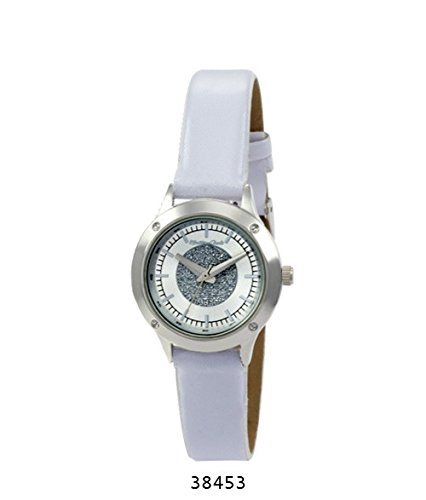 Montres Carlo White Faux Leather Strap with Silver Case Silver Dial
