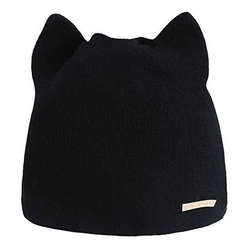 Hat nero Clearance Unisex Cat Hop Cuffia Fashion Winter Cebbay Berretti Sport a Hip l'orecchio Ski maglia per Fuc5T13lKJ