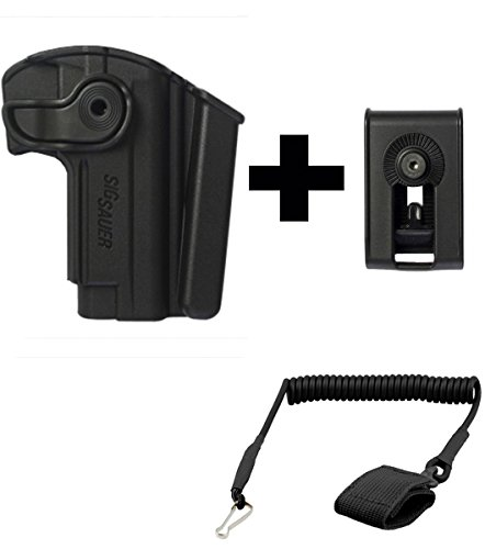 IMI Defense Z1280 Sig Sauer Mosquito 360° Rotate Holster with Integrated Mag Pouch Right Hand, Black + Z2150 Belt Clip Attachment + Ultimate Arms Gear Coiled Pistol Lanyard