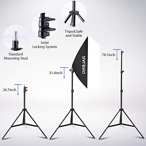 RALENO Softbox Photography Lighting Kit 20''X28'' Photography Continuous Lighting System Photo Studio Equipment with 2pcs E27 Socket 5500K Bulb Photo Model Portraits Shooting Box by RaLeno (Image #4)