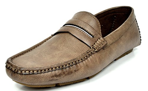 Moc Loafers Shoes (Bruno MARC MODA ITALY OAKLAND-01 Men's Classic On The Go Driving Casual Slip On Loafers Boat Moccasins Shoes COFFEE SIZE)