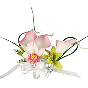 Angel Isabella Wrist Corsage and Boutonniere - Real Touch Calla Lily Orchid 15
