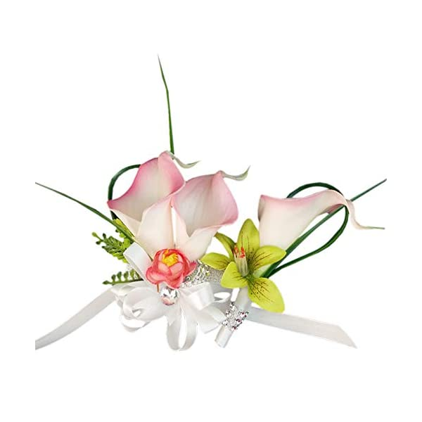 Angel Isabella Wrist Corsage and Boutonniere – Real Touch Calla Lily Orchid