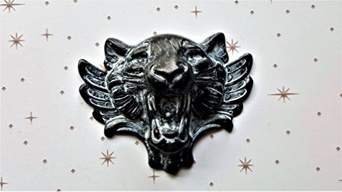 (XLarge Matte Black With White Patina Wild Cat With Wings Stamping(1) - BWFFA8035)