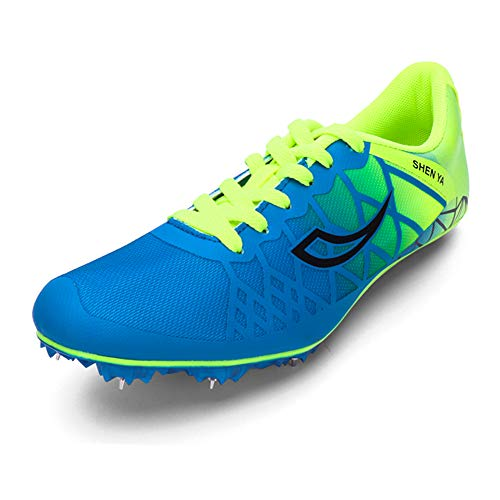 Thestron Track Shoes Boys Girls Spikes Training Sneakers Lightweight Racing Running Shoes Track and Field with Spikes for Kids, Youth (5.5 Big Kid,Blue02)