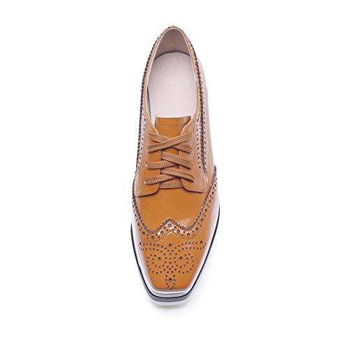 à KJJDE WSXY Matériau Creepers Verni en en A3215 Femme Chaussures brown Cuir Chaussures Plateformes aTB4qTF