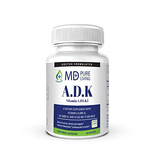 ADK Supplement - Dr. Formulated High Potency Vitamin ADK [A 5000iu, D3 5000iu, K2-MK7 500mcg] for Heart, Bone, and Vision Suppport - Purest & Most Potent Ingredients - 60 Veg Capules by MD Pure Living