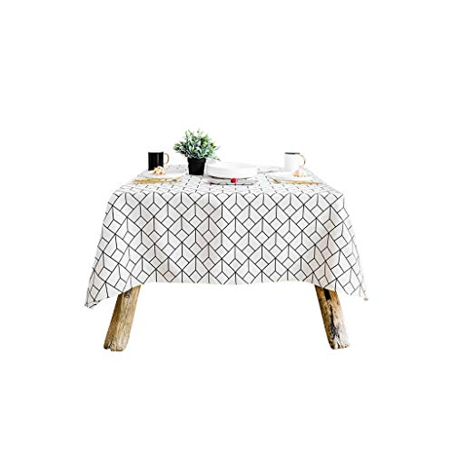 Gquan Tablecloth Cotton and Linen Blend Plaid Pattern 30° Water Temperature Cleaning Low Temperature Ironing Size 4 Optional Kitchen Restaurant Party Picnic Indoor Outdoor Use (Size : 140180cm)